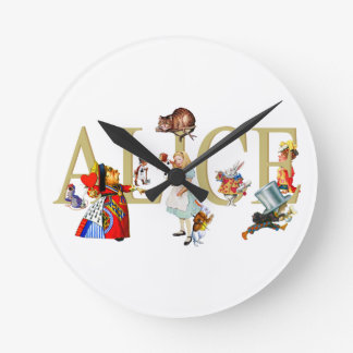 Alice and Wonderland and Friends Round Clock