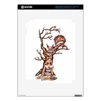 Alice and  Wonderland Drawing with Cheshire Cat iPad 3 Skin