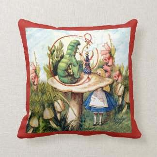 Alice Asks Advice from a Caterpillar in Wonderland Throw Pillow