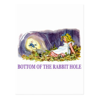 Alice at the bottom of the rabbit hole. postcard