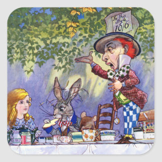 Alice at The Mad Hatter s Tea Party Square Stickers