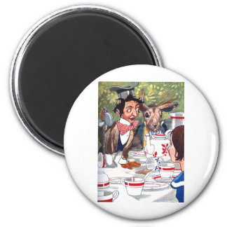 Alice at the Mad Hatter's Tea Party 2 Inch Round Magnet