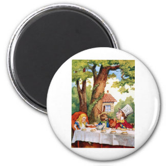 Alice at the Mad Hatter's Tea Party in Wonderland 2 Inch Round Magnet