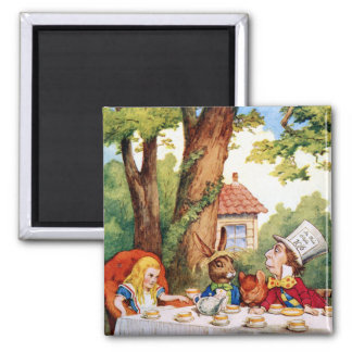 Alice at the Mad Hatter's Tea Party in Wonderland 2 Inch Square Magnet