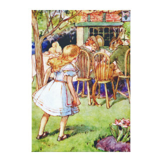 Alice at the Mad Hatter's Tea Party in Wonderland Canvas Print