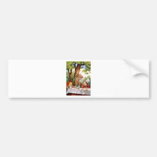 Alice at the Mad Hatter's Tea Party in Wonderland Car Bumper Sticker