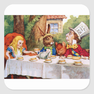 Alice at the Mad Hatter's Tea Party in Wonderland Square Sticker