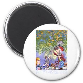 Alice at the Mad Hatter's Tea Paty. 2 Inch Round Magnet
