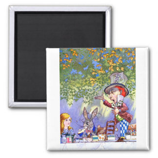 Alice at the Mad Hatter's Tea Paty. 2 Inch Square Magnet