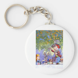 Alice at the Mad Hatter's Tea Paty. Basic Round Button Keychain