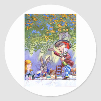 Alice at the Mad Hatter's Tea Paty. Classic Round Sticker