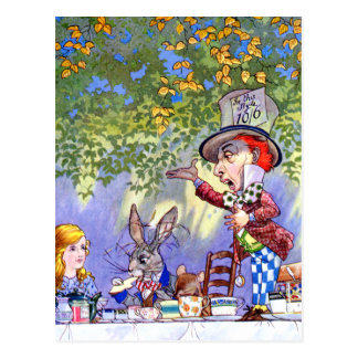 Alice at the Mad Hatter's Tea Paty. Postcard