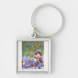 Alice at the Mad Hatter's Tea Paty. Silver-Colored Square Keychain