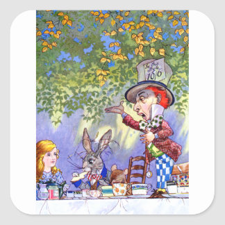 Alice at the Mad Hatter's Tea Paty. Square Sticker