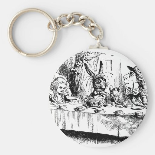 Alice at the Mad Tea Party Basic Round Button Keychain