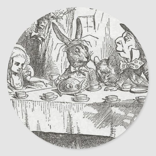 Alice at the Tea Party Classic Round Sticker