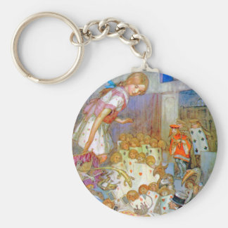 Alice at the Trial of the Knave of Hearts Basic Round Button Keychain