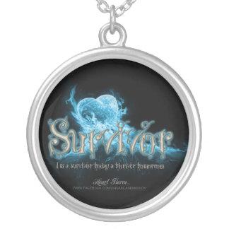 Alice Blazing Blue Pendant-Survivor  Round S Silver Plated Necklace