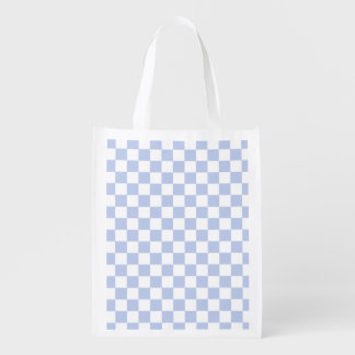 Alice Blue Checkerboard in English Country Garden Grocery Bags