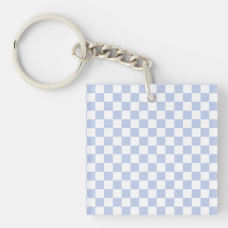 Alice Blue Checkerboard in English Country Garden Double-Sided Square Acrylic Keychain