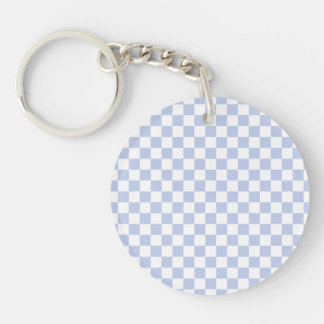 Alice Blue Checkerboard in English Country Garden Double-Sided Round Acrylic Keychain