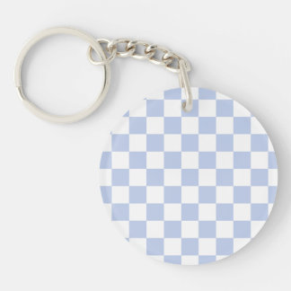 Alice Blue Checkerboard in English Country Garden Single-Sided Round Acrylic Keychain