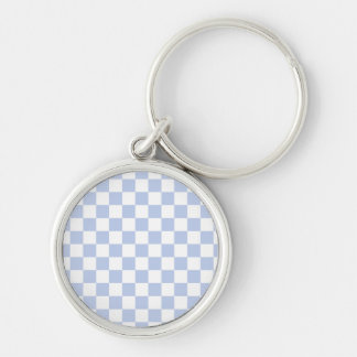Alice Blue Checkerboard in English Country Garden Silver-Colored Round Keychain