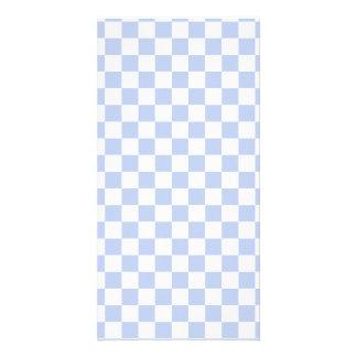 Alice Blue Checkerboard in English Country Garden Photo Card