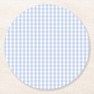 Alice Blue Gingham in an English Country Garden Round Paper Coaster