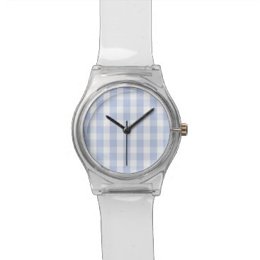 Beach Themed Alice Blue Gingham in an English Country Garden Wristwatch