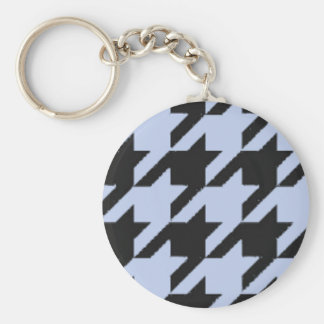 Alice Blue Houndstooth in English Country Garden Keychain