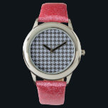 """Alice Blue Houndstooth in English Country Garden Wristwatch<br><div class=""""desc"""">Alice Blue and Black Houndstooth in an English Country Garden The dog-toothed pattern whimsically called Houndstooth finds a soft combination in Alice Blue and Black to complement ad customize all weddings,  showers,  graduations and garden parties.</div>"""