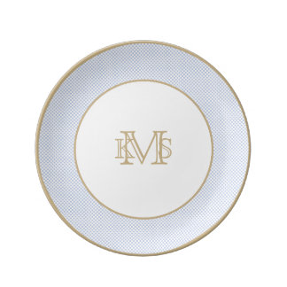 Alice Blue Micro Check in English Country Garden Porcelain Plate