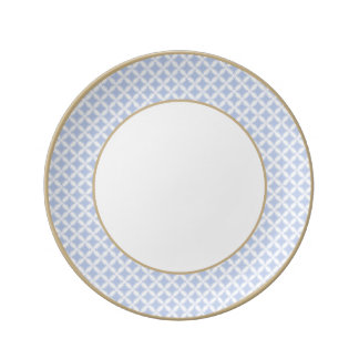 Alice Blue Quatrefoil in an English Country Garden Dinner Plate