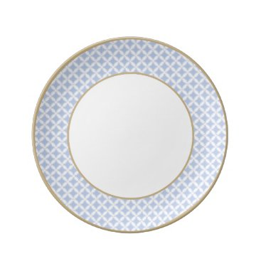 Beach Themed Alice Blue Quatrefoil in an English Country Garden Dinner Plate