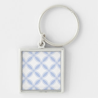 Alice Blue Quatrefoil in an English Country Garden Silver-Colored Square Keychain