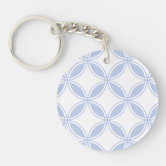 Alice Blue Quatrefoil in an English Country Garden Single-Sided Round Acrylic Keychain