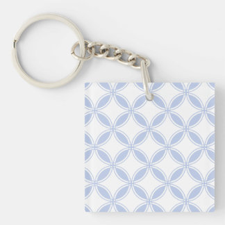 Alice Blue Quatrefoil in an English Country Garden Single-Sided Square Acrylic Keychain