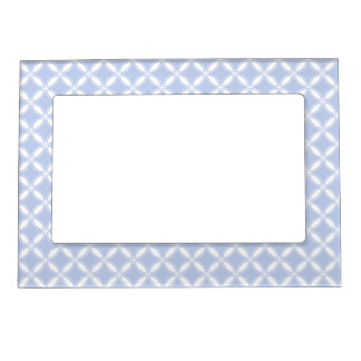 Alice Blue Quatrefoil in an English Country Garden Magnetic Photo Frames