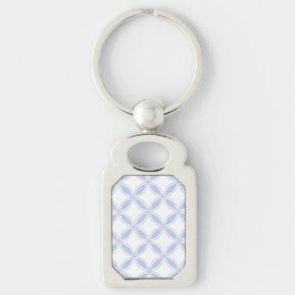 Alice Blue Quatrefoil in an English Country Garden Silver-Colored Rectangular Metal Keychain