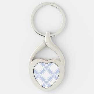 Alice Blue Quatrefoil in an English Country Garden Silver-Colored Heart-Shaped Metal Keychain