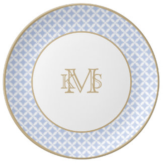 Alice Blue Quatrefoil in an English Country Garden Plate