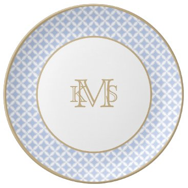 Beach Themed Alice Blue Quatrefoil in an English Country Garden Plate