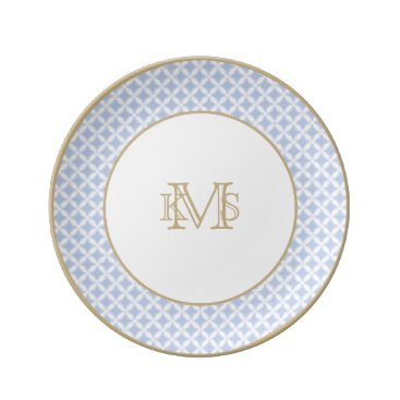 Beach Themed Alice Blue Quatrefoil in an English Country Garden Porcelain Plate