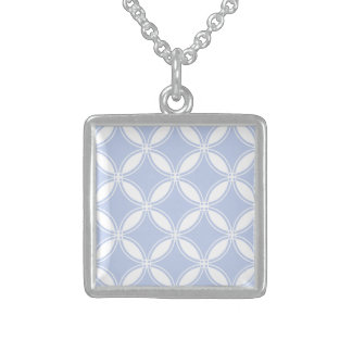 Alice Blue Quatrefoil in an English Country Garden Square Pendant Necklace