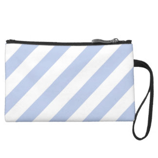 Alice Blue Tent Stripe in English Country Garden Suede Wristlet