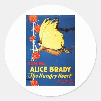 Alice Brady Al corazón hambriento 1917 Pegatinas Redondas