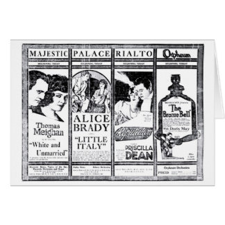 Alice Brady Priscilla Dean silent movie ads 1920 Greeting Card