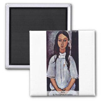 Alice By Modigliani Amedeo 2 Inch Square Magnet