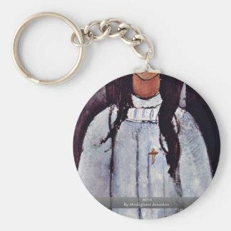 Alice By Modigliani Amedeo Basic Round Button Keychain